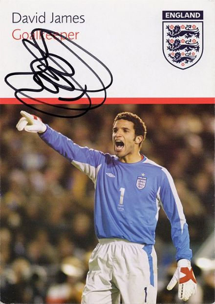 David James, England, signed 6x4 inch promo card.